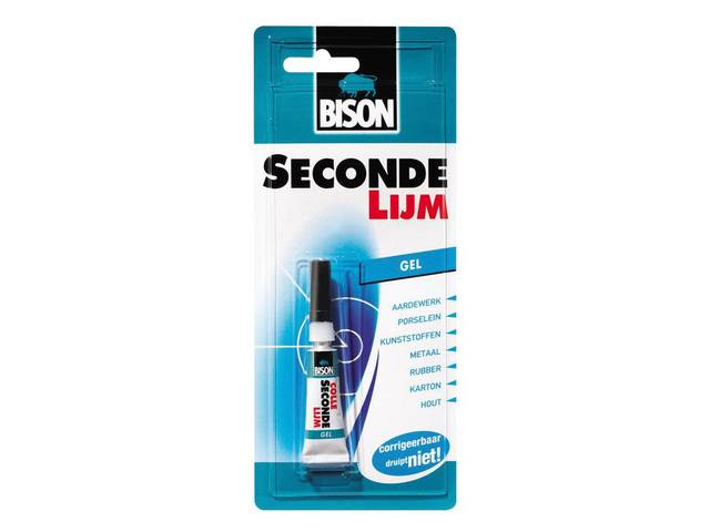 Bison secondelijm gel 3gr tube blisterkaart